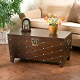 Accent Storage Cocktail Coffee Table Trunk , Espresso Finish