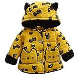 エフティーゾーン(Ftzone)子供服ベビー赤ちゃんの子供の男の子女の子コート コットン暖かい綿 防寒 冷え取り冬物 ダウンジャケット ダウンコート 上着 防風(ネコ) (XL/身长110cm, 黄) FTzone