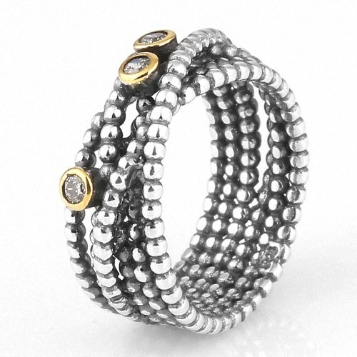 Taotaohas-(1Pc) Oxidized Antique Two Tone 100% Solid Sterling 925 Silver Ring, [ Name: Entangled Beauty, Uk Size: S 1/2, Us Size 9, Eu Size 58, Stone Color: Clear ], Made With Swarovski Elements Crystal Czech Rhinestone, Fit European Bracelets Necklaces C