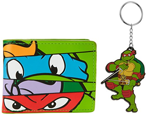 Teenage Mutant Ninja Turtles Tmnt Masks Bi-Fold Wallet & Raph Keychain Gift (Ninja Turtles Chain Wallet compare prices)