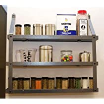 3 Tier Spice Rack in Hammered Steel and Black Wood