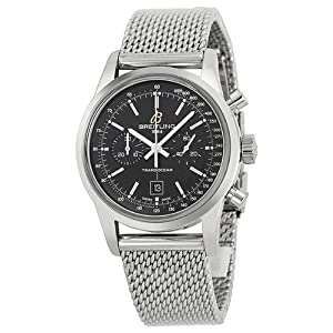 Breitling TransOcean 38 Black Dial Stainless Steel Watch A4131012-BC06SS