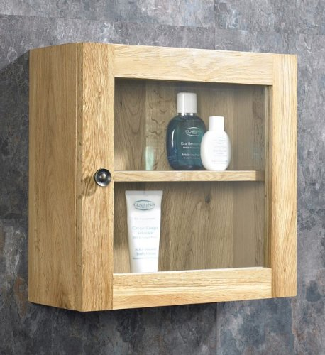 Solid Oak 38cm Tall by 38cm Wide Single Glass Door Wall Mounted Bathroom Cabinet