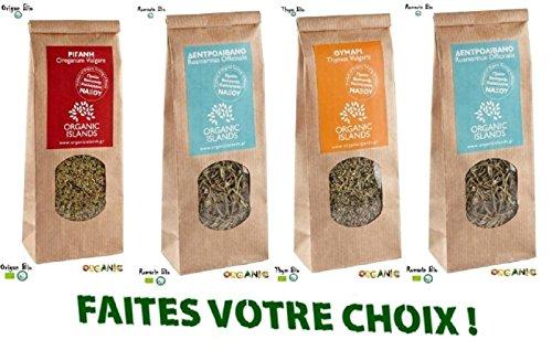 Herbes Aromatiques (120gr) Bio Origine Île de Naxos (Grèce) 4 X Sachet kraft 30 gr - Origan,Thym,Romarin,Lavande Alimentaire