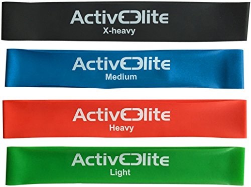✮ 4 different Resistance Bands / Exercise Bands / Stretch Bands / Loop Bands ✮ Set of 4 Bands (Light, Medium, Heavy and X-Heavy) ✮ 100% natural latex ✮ Bonus: Carry Bag