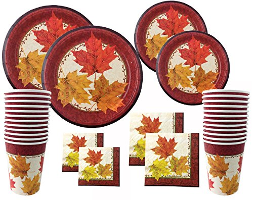 Autumn Traditions Thanksgiving Disposable Dinnerware Set for Your Holiday Party - Falling Leaves - Dinner Plates, Dessert Plates, Napkins and Cups (Serves 24)