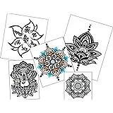 Temporary Tattoo Mandala Set - Semi-Permanent Yoga Tattoos - Mandala and Ganesha Tattoos - 5 Designs - 10 Large Tattoos (Color: 5 Designs)