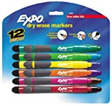 Expo Low Odor Ultra Fine Tip Dry Erase Markers with Built-in Eraser and Grip, 12 Colored Markers