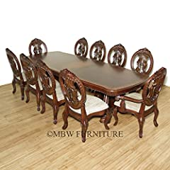 11 Pc 10Ft Long Mahogany Double Pedestal Table w/ 10 Chairs Dining Room Set