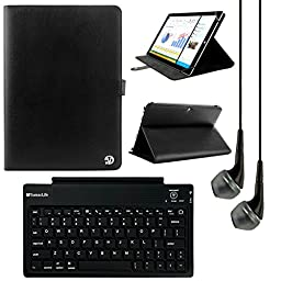 VanGoddy Arthur 11.6-inch Tablet Portfolio Case for RCA 11 Maven Pro with Bluetooth Keyboard & Black Headphones (Black)