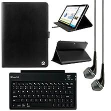 buy Vangoddy Arthur 8-Inch Tablet Portfolio Case For Lenovo Tab 2 A8-50 / S8-50 / A8 With Bluetooth Keyboard & Black Headphones (Black)