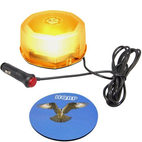 Hqrp 240 Led Mini Light Octagon Beacon Bar Amber Hazard Warning / Emergency Strobe Light With Magnetic Base Plus Hqrp Coaster