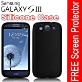 CostMad TM Brand New Soft Plain Silicone Protective Case Cover For Samsung I9300 Galaxy S3 SIII with Screen Protector (Black) Reviews