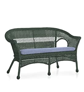 Lightweight All Weather Resin Outdoor Wicker Loveseat In Green Outdoor A