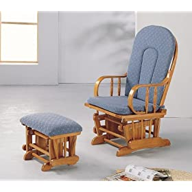Oak Finish Glider Rocker W/ottoman In Blue