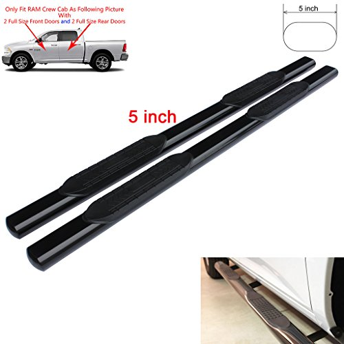 RAFTUDRIVE 5 inch Oval Carbon Steel Running Boards applicable for 09-15 DODGE RAM 1500 & 10-15 RAM 2500/3500 Crew Cab (With 2 full size front doors and 2 full size rear doors) (Dodge Ram 3500 Running Boards compare prices)