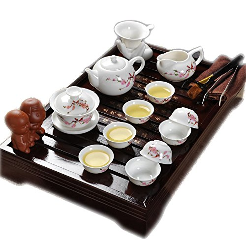 ufengke®Best Red Flower And Bird Ceramic Kung Fu Tea Set Tea Service With Tea Tray (Japanese Tea Service Set compare prices)