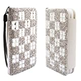Synthetic Leather Clear Rhinestone Squares Diamond Bling Flip Cover Pouch W/ Card Holder Stand For Motorola Moto X W/ Free Screen Protector (StopAndAccessorize)