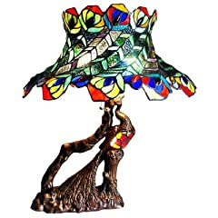 Chloe Lighting CH20B568TL Tiffany-Style Peacock 3-Light Double Lit Table Lamp with 20-Inch Shade
