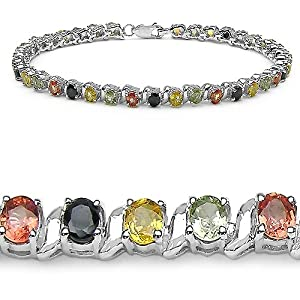 9.50 Carat Genuine Multi Sapphire Sterling Silver Bracelet