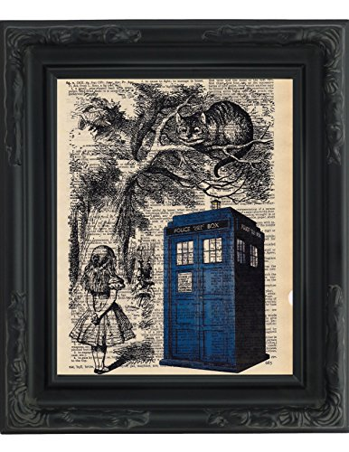 Dictionary Art Print Tardis Alice And Cheshire Cat