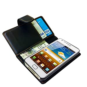 Black Flip Leather Wallet Card Case Cover for Samsung Galaxy S2 by Neotechs