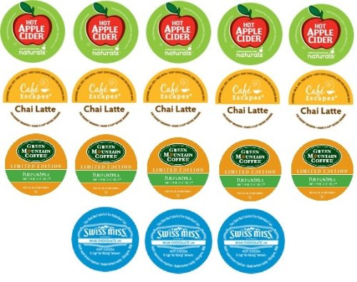 18 Count - Holiday Variety K-Cups for Keurig Brewers - Green Mountain Pumpkin Spice, Green Mountain Apple Cider, Cafe Escape Chai Latte and Swiss Miss Milk Chocolate