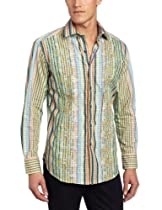 Big Sale Robert Graham Men's Cheltenham Long Sleeve Woven, Multi, Large