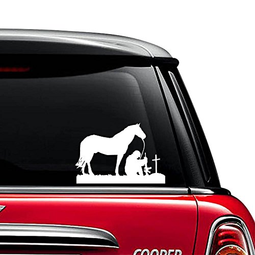 Horse Soldier Praying Christian Vinyl Decal Sticker For Car Truck Motorcycle Window Bumper Wall Laptop Size- (12 inch) / (30 cm) Wide / Color- Gloss Black (Window Decal Praying Soldier compare prices)