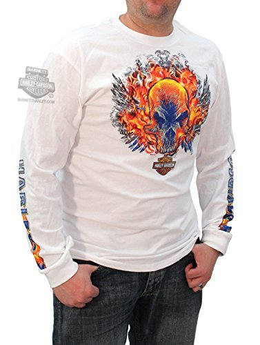 Harley-Davidson Mens Rough Ride Flaming Skulls White Long Sleeve T-Shirt - LG