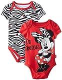 Disney Baby-Girls Newborn Minnie Mouse 2 Pack Bodysuit, Red, 6-9 Months