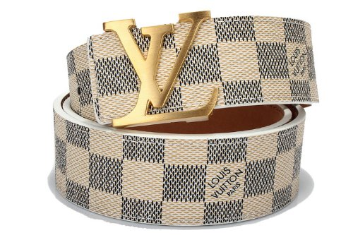 Louis Vuitton Men's Belt (white with gold buckle)