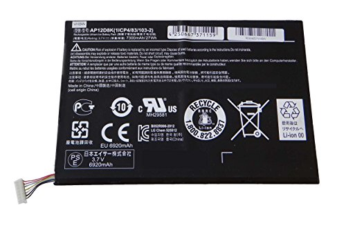 vhbw Batterie 7300 mAh (3.7 V) pour tablette Pad Netbook Acer Iconia w510p-1867 1406, w510p comme 1icp4/83/103-2, AP12D8 K.