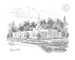LDS Plastic Louisville Kentucky Temple Sketch Temple Recommend Holder - Chad Hawkins Temple Art