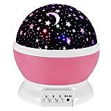 Skitic LED Sternenklar Nacht-Beleuchtung Romantische Rotating Kosmos Stern Himmel Mond Lampe Projektor Schlafzimmer Nachtlicht für Kinder, Baby, Liebhaber und Weihnachts-Geschenk (Rosa)
