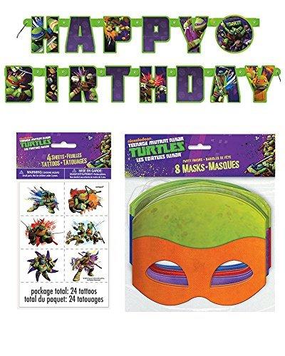 Teenage Mutant Ninja Turtle Birthday Party Supplies for 16 - 16 Masks, 48 Tattoos, One Birthday Banner (Ninja Birthday Banner compare prices)
