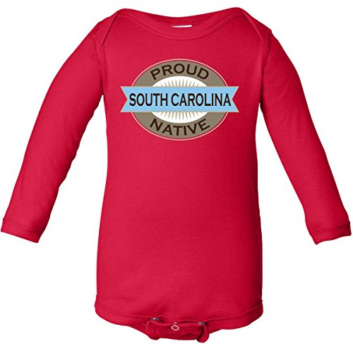 Inktastic Unisex Baby Proud South Carolina Native Long Sleeve Creepers Newborn Red