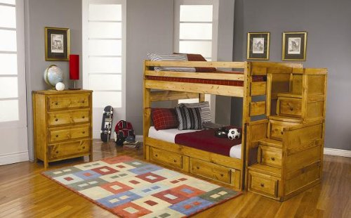 Inland Empire Furniture Jeffery Amber Wash Solid Wood Full/Full Trundle Bunk Bed with Staircase (Furniture Bunk Bed Parts compare prices)