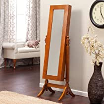Oak,Heritage Jewelry Armoire Cheval Mirror