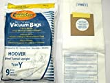 Hoover Part#4010100Y - Type Y Vacuum Bag Replacement for Hoover WindTunnel Uprights and Hoover Vacuums Using Type Y or Type Z Bags by EnviroCare Part#856-9 - 9/Package