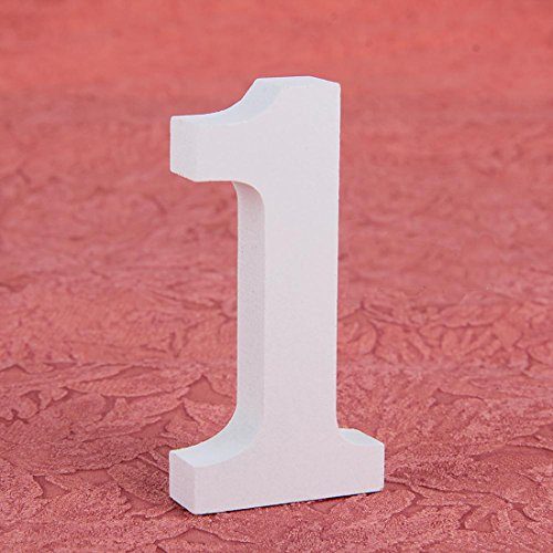 1 Craft White Wooden Number Bridal Toys Decorations Wood Wedding Party (Wooden Numbers compare prices)