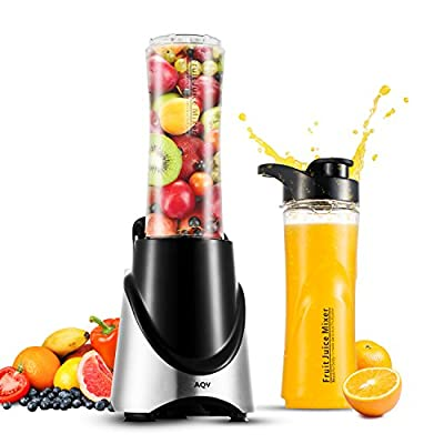 Blender, AQV Personal Juicers Stainless Mixer with Two 20 OZ Travel Sport Bottles Mini Kitchen Juicer Smoothies Maker Multi-function Crusher for Fruits Vegetables Ice Shakes and Smoothies (Silver)