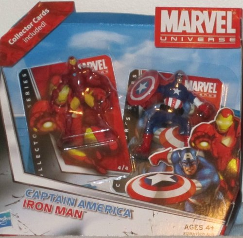 Marvel Universe Captain America and Iron Man Mini Figures with Collector Cards - 1