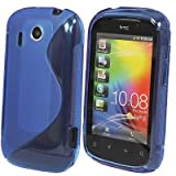 JJOnline Case Cover Skin For HTC Explorer A310e - Blue S Line Series Silicone Gel Rubber