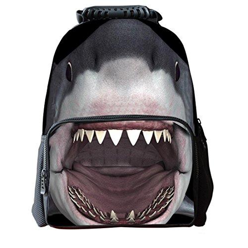 3d Shark comode Flag gioventù borsa da viaggio zainetto Student zaino School Bag, gray