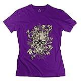 Tianbang Custom Happy Skull Design Women's Tshirt Size M Purple