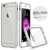 iPhone6 ケース クリア ESR iPhone6s ケース シリコン キラキラ ハード アルミ/PC/TPU耐衝撃カバー 電波影響無し ラインストーンデコ iPhone6/ iPhone6s バンパー (シルバー)