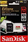 SanDisk 64GB Extreme U3 Micro SDXC up to 60MB/s Read with Adapter (SDSDQXN-064G-G46A) [Newest Version]