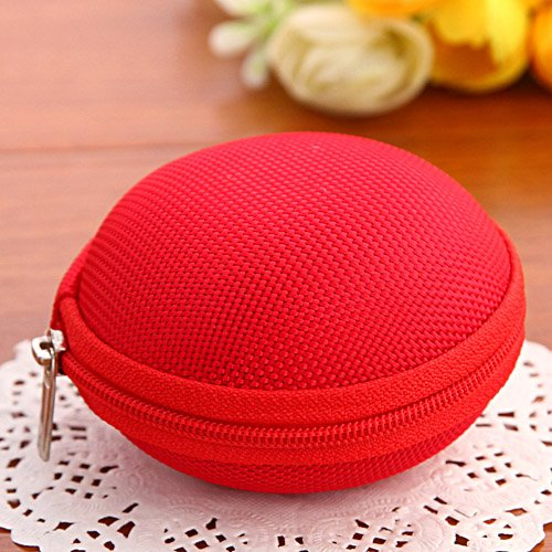 New Cute Small Round Hard Storage Case Coin Purse Wallets Bag Pouch For Earphone Headphone Earbuds Sd Tf Cards Mini Bag In Bag (Red) - Xb03003