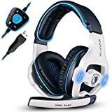 SADES SA903 USB 7.1 Surround Sound Stereo Gaming Headset Over Ear Headphones For PC With Microphone Volume-Control...